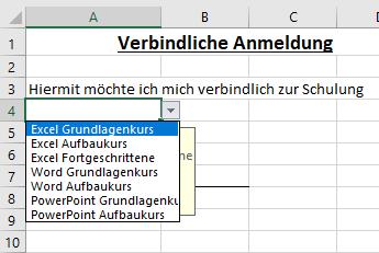 Dropdown-Liste in Excel