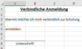 Anmeldeformular in Excel