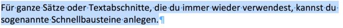Textbaustein, Autotext, Schnellbaustein in Word anlegen