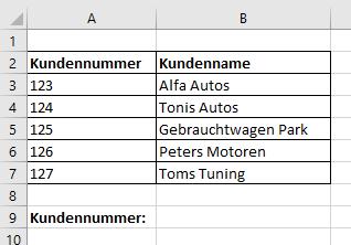 SVerweis Beispiel Tabelle