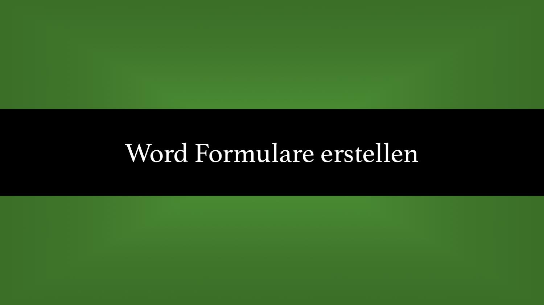 word formulare