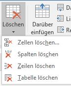 Tabellen Elemente löschen über Layout