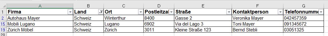 Filter Daten gefiltert in Excel