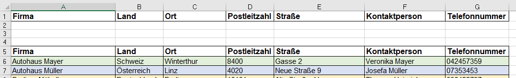 Spezialfilter in Excel