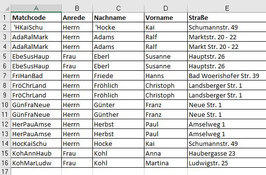 Excel Matchcode kopiert