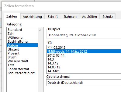 datum formatieren optionen