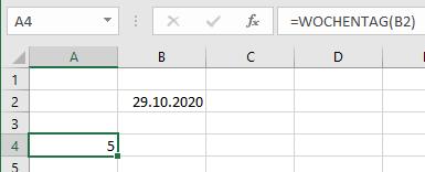 Excel Wochentag aus Datum