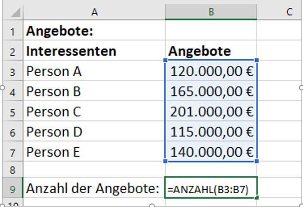 Excel Anzahl