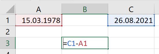 Alter berechnen Excel